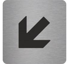 Plaque porte alu ou pvc picto carré Flèche en bas vers la gauche