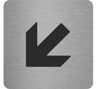 Plaque porte alu picto carré Flèche en bas vers la gauche