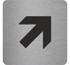 Plaque porte alu ou pvc picto carré Flèche en haut vers la droite