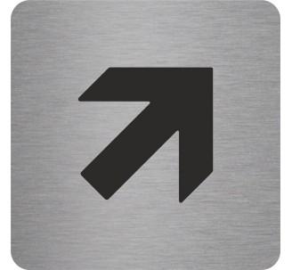 Plaque porte alu picto carré Flèche en haut vers la droite