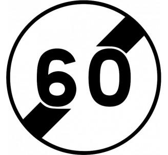 """Kit ou panneau seul type routier """"Fin de limitation de vitesse - 60kmh"""" ref: B33"""
