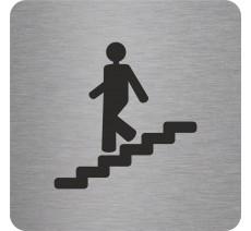 Plaque porte alu ou pvc picto carré Escalier descendant