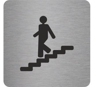 Plaque porte alu picto carré Escalier descendant