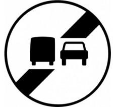 """Kit ou panneau seul type routier """"Fin d'interdiction de dépasser"""" ref: B34a"""
