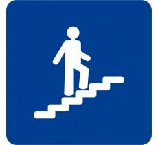 Plaque porte alu ou pvc picto carré Escalier montant
