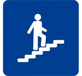 Plaque porte alu picto carré Escalier montant