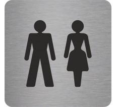 """Pictogramme en relief """"Toilettes mixtes"""", 5 coloris au choix"""