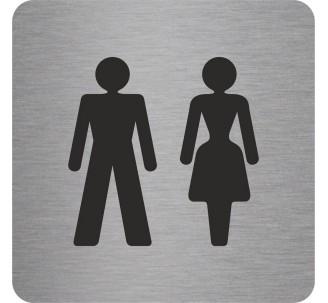 """Pictogramme en alu en relief """"Toilettes mixtes"""""""