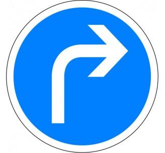 """Kit ou panneau seul type routier """"Direction obligatoire à la prochaine intersection, à droite"""" ref: B21c1"""