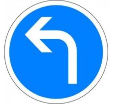 """Kit ou panneau seul type routier """"Direction obligatoire à la prochaine intersection, à gauche"""" ref: B21c2"""