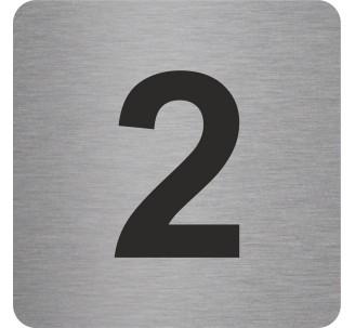 """Pictogramme en alu en relief """"2"""""""