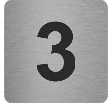 """Pictogramme en alu en relief """"3"""""""