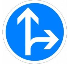 """Kit ou panneau  seul type routier """"Directions obligatoires à la prochaine intersection, tout droit ou à droite"""" ref: B21d1"""