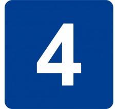 """Pictogramme en relief """"4"""", 5 coloris au choix"""