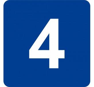 """Pictogramme en alu en relief """"4"""""""