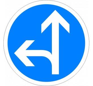 """Kit ou panneau seul type routier """"Directions obligatoires à la prochaine intersection, tout droit ou à gauche"""" ref: B21d1"""