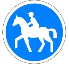"""Kit ou panneau seul type routier """"Chemin obligatoire pour cavaliers"""" ref: B22c"""