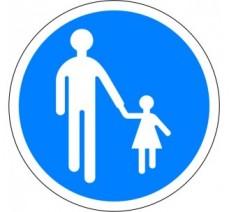 """Kit ou panneau seul type routier """"Chemin obligatoire pour piétons"""" ref: B22b"""