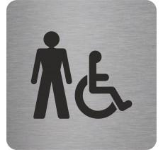 """Pictogramme en relief """" Toilettes hommes, handicapés"""", 5 coloris au choix"""