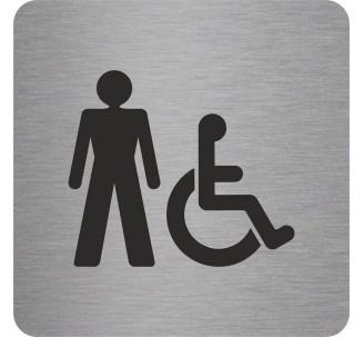 """Pictogramme en alu en relief """" Toilettes hommes, handicapés"""""""