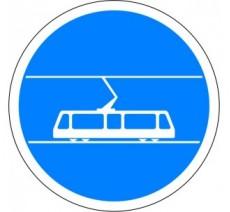 """Kit ou panneau seul type routier """"Voie réservée aux tramways"""" ref: B27b"""
