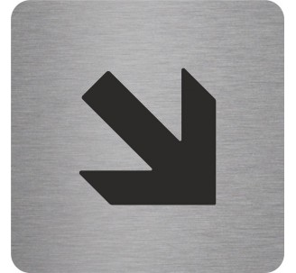 "Pictogramme en alu en relief ""Flèche"" en bas vers la droite"