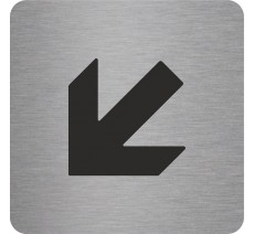"Pictogramme en alu en relief ""Flèche"" en bas vers la gauche"