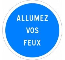 """Kit ou panneau seul type routier """"Obligation d'allumer ses feux"""" ref: B29"""