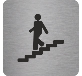 "Pictogramme en alu en relief ""Escalier"" descendant"