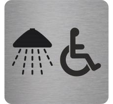 """Pictogramme en relief """"Douche, handicapés"""", 5 coloris au choix"""