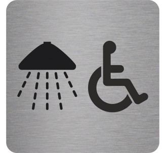 "Pictogramme en alu en relief ""Douche, handicapés"""