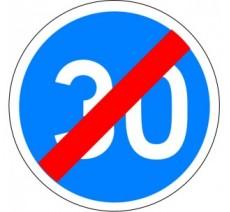"""Kit ou panneau seul type routier """"Fin de vitesse obligatoire - 30kmh"""" ref: B43"""