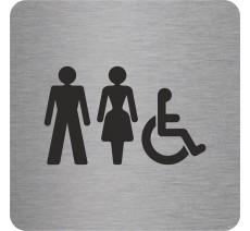 """Pictogramme en relief """"Toilettes mixtes, handicapés"""", 5 coloris au choix"""