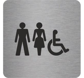 """Pictogramme en alu en relief """"Toilettes mixtes, handicapés"""""""