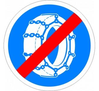 """Kit ou panneau seul type routier """"Fin d'obligation de l'usage des chaînes à neige"""" ref: B44"""