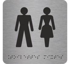 """Picto avec braille et relief """"Toilettes mixtes"""", 5 coloris au choix"""