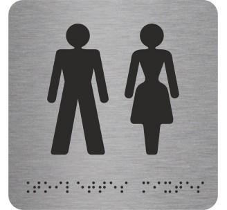 """Picto alu avec braille et relief """"Toilettes mixtes"""""""
