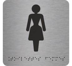 """Picto avec braille et relief """"Toilettes Femmes"""", 5 couleurs au choix"""