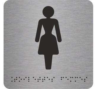 """Picto alu avec braille et relief """"Toilettes Femmes"""""""