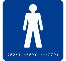 """Picto avec braille et relief """"Toilettes Hommes"""", 5 couleurs au choix"""