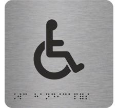 """Picto alu avec braille et relief """"Toilettes Handicapés"""""""