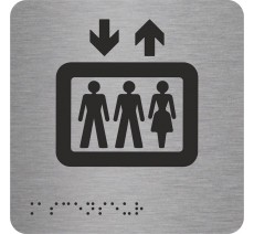 """Picto alu avec braille et relief """"Ascenseur"""""""
