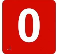 """Pictogramme en alu avec braille et relief """"0"""""""