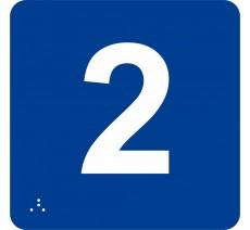 """Pictogramme en alu avec braille et relief """"2"""""""