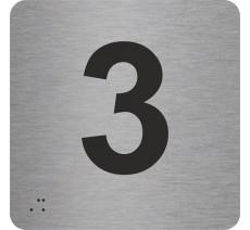 """Pictogramme en alu avec braille et relief """"3"""""""