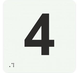 """Pictogramme en alu avec braille et relief """"4"""""""