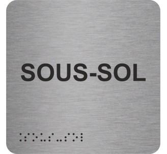 """Picto alu avec braille et relief """"Sous-sol"""""""