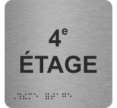 "Picto alu avec braille et relief ""4e ETAGE"""
