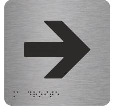"""Picto avec braille et relief """"Flèche vers la droite"""", 5 couleurs au choix"""