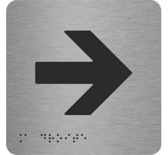 """Pictogramme en alu avec braille et relief   """"Flèche vers la droite"""""""
